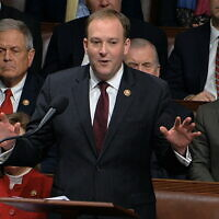 Republican Representative Lee Zeldin of New York speaks as the House of Representatives debates the articles of impeachment against US President Donald Trump at the Capitol in Washington, December 18, 2019. (House Television via AP)