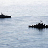 Illustrative: Two Iranian warships approach Iran's southeastern port city of Chahbahar, in the Gulf of Oman, December 27, 2019. (Iranian Army via AP)
