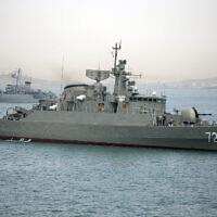 Illustrative: An Iranian warship Alborz, foreground, prepares to leave Iran's waters, April 7, 2015. (Fars News Agency, Mahdi Marizad/AP)