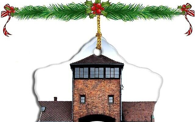 A Christmas ornament featuring Auschwitz is for sale on Amazon