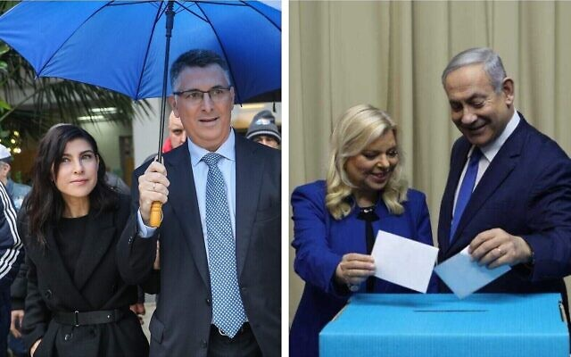 Composite photo: Likud MK Gideon Sa'ar accompanied by his wife Geula Even Sa'ar arrives to cast his primary ballot in Tel Aviv (left); Prime Minister Benjamin Netanyahu and wife Sara cast their ballots at the Prime Minister's Residence in Jerusalem (right) on December 26, 2019 (JACK GUEZ / AFP; courtesy)