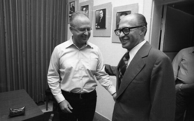 Newly elected PM Menachem Begin receives his job from outgoing PM Yitzhak Rabin, 1977.  From the Dan Hadani Archive, The Pritzker Family National Photography Collection, National Library of Israel (Photo: IPPA Staff)