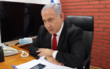 Prime Minister Benjamin Netanyahu speaks on the phone with Yogev, an Israeli student who says he was attacked on the Paris Metro for speaking Hebrew, on December 10, 2019. (Screen capture: Twitter)