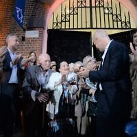 The ribbon-cutting ceremony at the rededication of the Buenos Aires Holocaust Museum on Dec. 1, 2019. (Leonardo Kremenchuzky/Holocaust Museum of Buenos Aires via JTA)