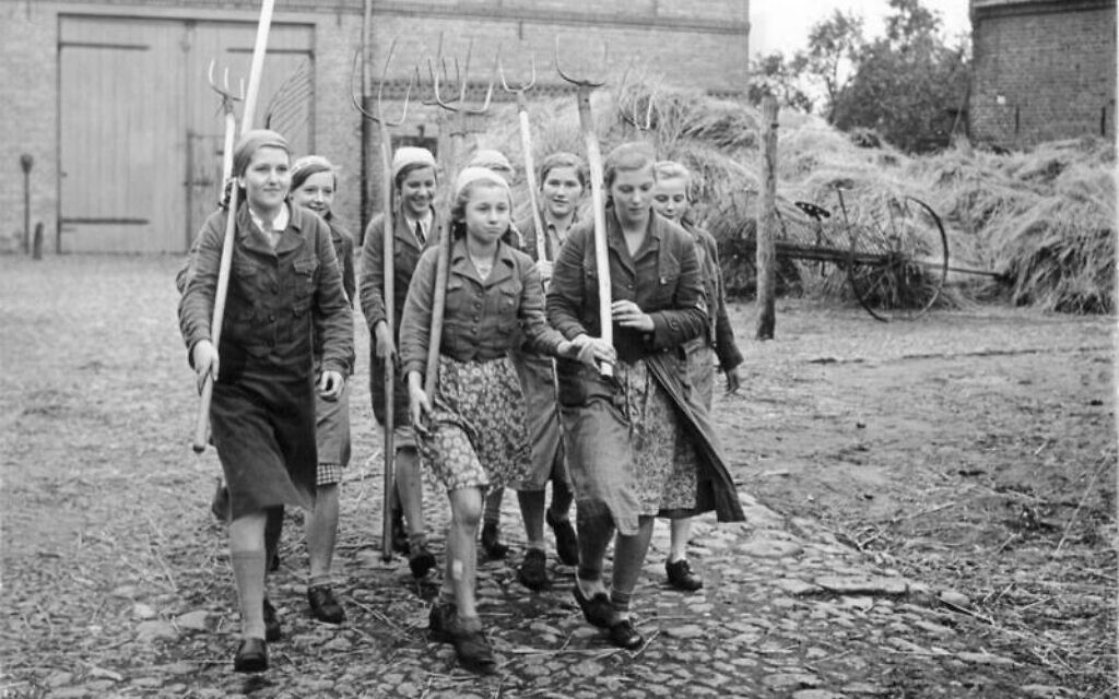 Labor on Nazi-era hereditary farms was performed by members of the Hitler-Jugend (Hitler Youth), the Bund Deutscher Madel (League of German Girls), and the Reichsarbeitsdienst (Reich Labor Service), which conscripted young men and women during the war years. German youth were required to farm due to the need for settlers in new eastern territories. (Bundesarchiv Bild 183-E1068, Wikimedia Commons)