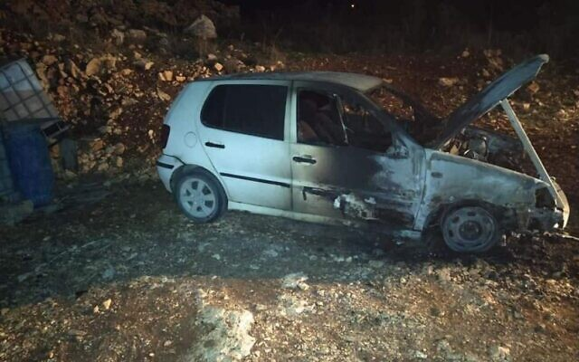 Illustrative: A car torched in a price-tag attack targeting the Palestinian village of Far'ata on December 20, 2019. (Far'ata municipality)