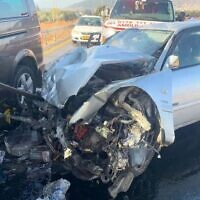 A 49-year-old woman was killed in a three-car collision on Route 767 near the Lower Galilee village of Kfar Tavor, December 2, 2019. (Magen David Adom)