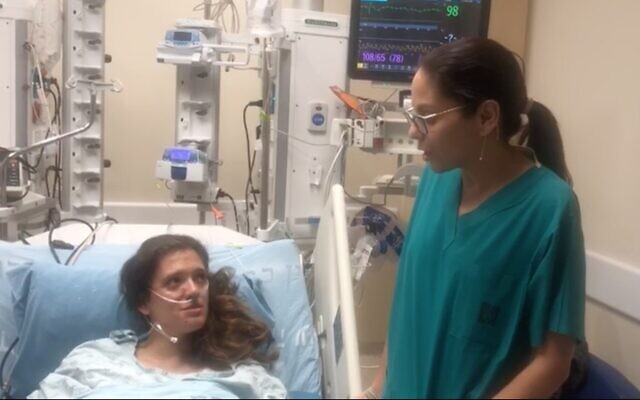 Screen capture from video of Dr. Gabby Elbaz Greener, right, and teacher Chen Danziger, left, who survived a near fatal heart attack after two pupils kept her alive using CPR, December 17, 2019. (Courtesy Hadassah Hospital)