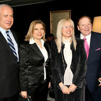 American billionaire businessman and philanthropist Sheldon Adelson (R) and his wife Miriam, with Prime Minister Benjamin Netanyahu and his wife Sara attend the Israeli Presidential Conference at the International Conference Center in Jerusalem May 13, 2008. (Anna Kaplan /FLASH90)