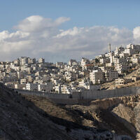 View of the Palestinian town of Al-Ram on the outskirts of Jerusalem, on January 1, 2017. (Yonatan Sindel/Flash90)