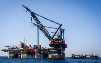The Leviathan gas field gas processing rig near the city of Caesarea, on January 31, 2019. (Marc Israel Sellem)