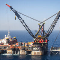View of the Leviathan gas field gas processing rig near the city of Caesarea, on January 31, 2019. (Marc Israel Sellem/Pool)
