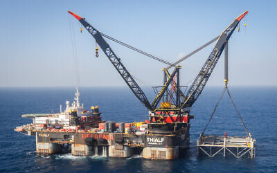 View of the Israeli Leviathan gas field gas processing rig near the city of Caesarea, on January 31, 2019. (Marc Israel Sellem/POOL)