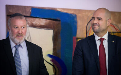 Justice Minister Amir Ohana (R) and Attorney General Avichai Mandelblit at a ceremony marking the former's appointment to the position, at the Justice Ministry in Jerusalem, June 23, 2019. (Yonatan Sindel/Flash90)