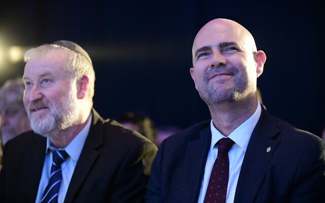 Attorney General Avichai Mandelblit (L) and Justice Minister Amir Ohana attend the annual justice conference in Airport City, outside Tel Aviv on September 3, 2019. (Tomer Neuberg/Flash90)