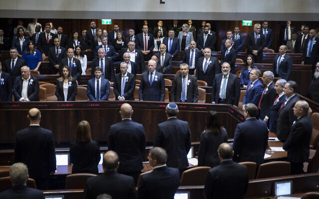 Illustrative: The plenum hall of the Israeli parliament on the opening of the 22nd Knesset in Jerusalem, on October 3, 2019. (Hadas Parush/Flash90)