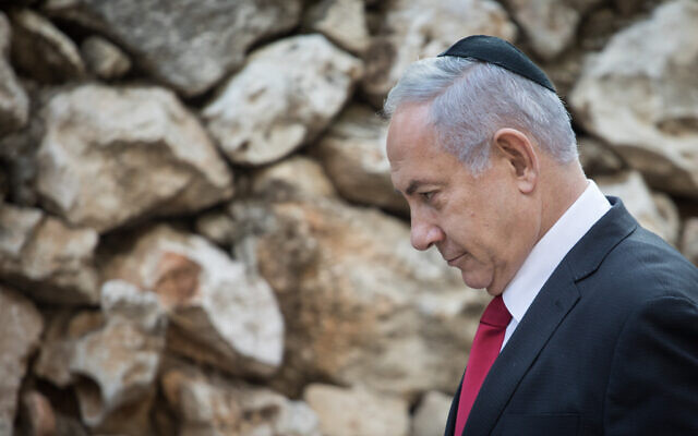 Prime Minister Benjamin Netanyahu attends a state memorial service at Mount Herzl on October 29, 2019 (Hadas Parush/Flash90)