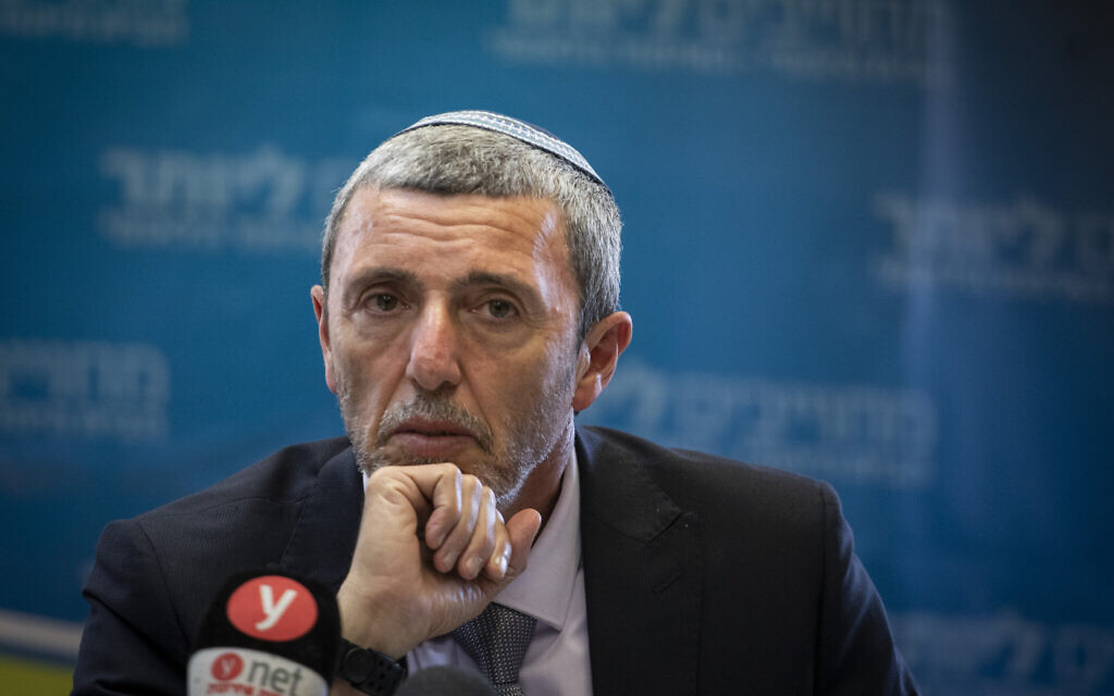 Education Minister Rafi Peretz at a faction meeting of his Jewish Home party in the Knesset on November 11, 2019. (Hadas Parush/Flash90)