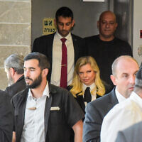 Sara Netanyahu, the prime minister's wife, arrives to testify in the libel suit filed by Menny Naftali, the former manager of the Prime Minister's Residence, at the Herzliya Magistrate's Court on December 2, 2019. (Avshalom Sassoni/Flash90)