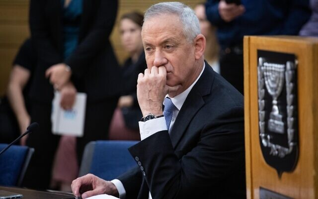 Blue and White party chairman MK Benny Gantz during a faction meeting at the Knesset, in Jerusalem, on December 2, 2019. (Hadas Parush/Flash90)