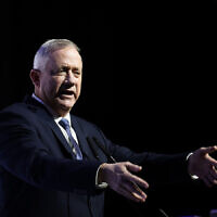 Blue and White party chairmen Benny Gantz speaks a conference of the Makor Rishon newspaper at the International Convention Center in Jerusalem, December 8, 2019. (Hadas Parush/Flash90)