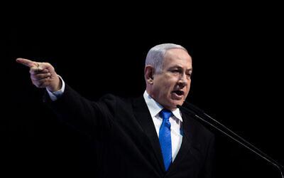 Prime Minister Benjamin Netanyahu at the conference of the Israeli newspaper Makor Rishon at the International Convention Center in Jerusalem, December 8, 2019. (Yonatan Sindel/Flash90)