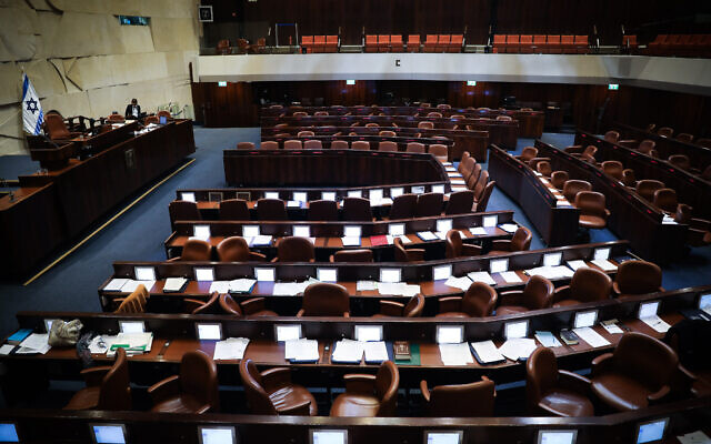 A general view of the Israeli parliament during a vote on a bill to dissolve the parliament, at the Knesset, in Jerusalem on December 11, 2019. (Hadas Parush/Flash90)