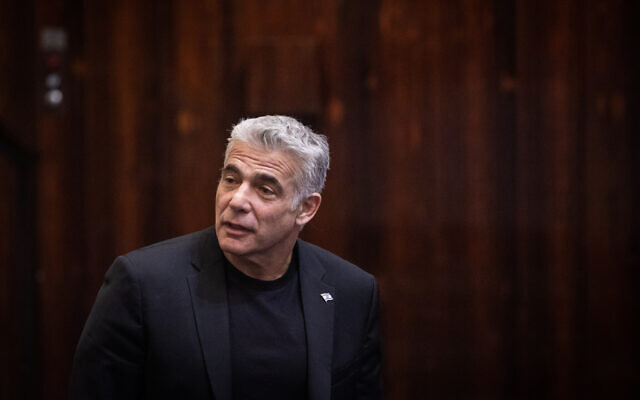 Blue and White party co-chairman MK Yair Lapid during a vote on a bill to dissolve the parliament, at the Knesset, in Jerusalem on December 11, 2019. (Hadas Parush/Flash90)