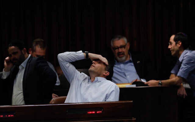 New Right MK Matan Kahana seen during a vote on a bill to dissolve the parliament, at the Knesset, in Jerusalem on December 11, 2019. (Olivier Fitoussi/Flash90)