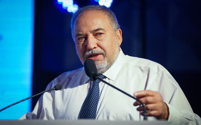 Yisrael Beytenu party chairman Avigdor Liberman speaks during an event in Ashdod, southern Israel, on December 12, 2019. (Flash90)
