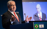 Prime Minister Benjamin Netanyahu speaks at an event opening the Brazilian Trade and Investment Promotion Agency in Jerusalem, December 15, 2019.  (Hadas Parush/Flash90)