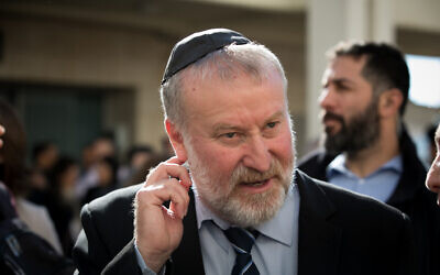Attorney General Avichai Mandelblit attends a farewell ceremony held for outgoing State Prosector Shai Nitzan at the Justice Ministry in Jerusalem on December 18, 2019. (Olivier Fitoussi/Flash90)
