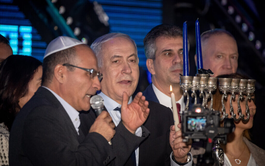 Israeli prime minister Benjamin Netanyahu attends a rally in his support in Jerusalem on December 22, 2019. (Yonatan Sindel/Flash90)