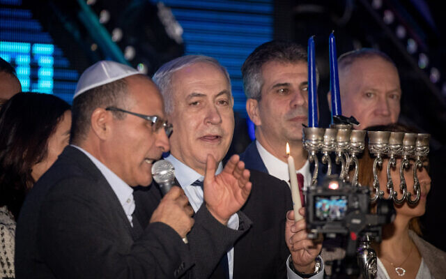 Israeli prime minister Benjamin Netanyahu attends a rally in his support in Jerusalem on December 22, 2019. (Yonatan Sindel/Flash90)