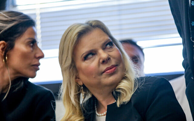 Sara Netanyahu, wife of Prime Minister Benjamin Netanyahu, arrives to a court hearing at the regional labor court in Jerusalem, in the case of Shira Raban, a former employee at the Prime Minister's Residence, December 23, 2019.  (Yonatan SIndel/FLASH90)