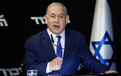 Prime Minister Benjamin Netanyahu delivers a statement following his victory in the Likud party primaries, at Airport City, on December 27, 2019. (Flash90)