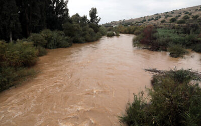 View of the Jordan River after heavy rains in northern Israel, on December 27, 2019. (Yossi Zamir/Flash90)