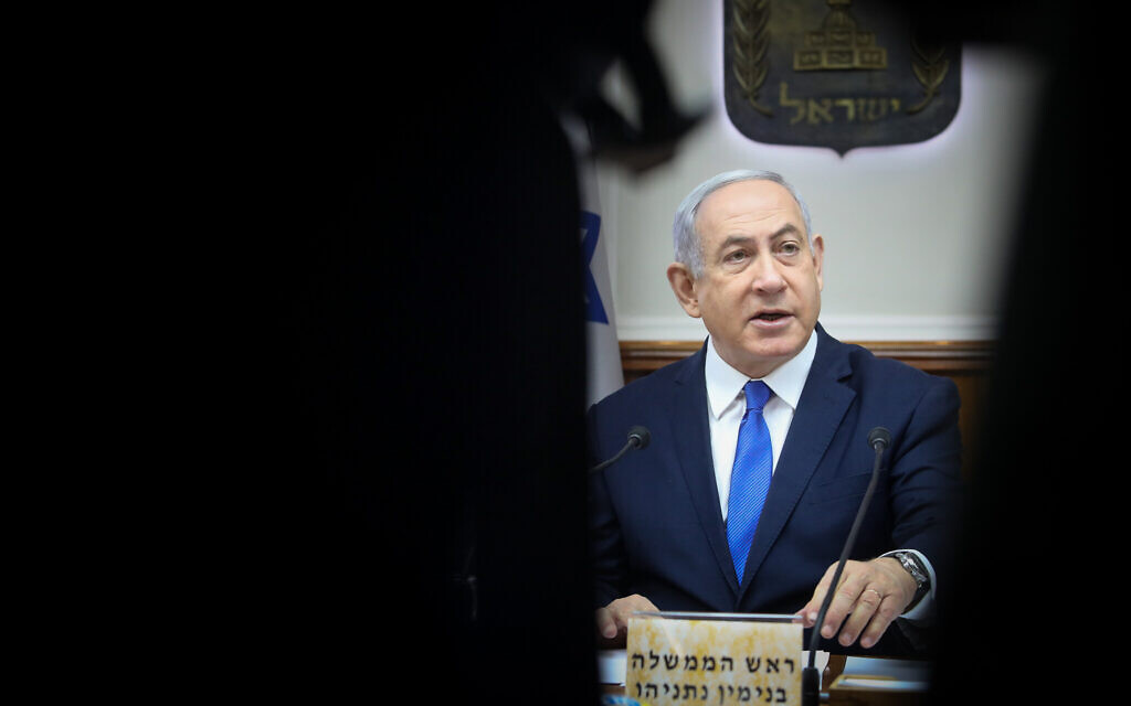 Israeli Prime Minister Benjamin Netanyahu attends the weekly cabinet meeting, at the Prime Minister's Office in Jerusalem, on December 29, 2019. (Marc Israel Sellem/POOL)