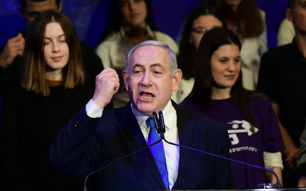 Prime Minister Benjamin Netanyahu attends an event marking the eighth night of Hanukkah, on December 29, 2019. (Tomer Neuberg/Flash90)