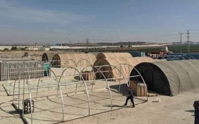 Construction of field hospital in the Gaza Strip near the Erez crossing. (Screenshot from the Friend Ships-Project-Camp Gaza Facebook page)