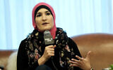 Linda Sarsour speaks at Mothers of the Resistance: Women Leading the Movement during the 2019 SXSW Conference and Festivals at JW Marriott in Austin, Texas, March 11, 2019. (Rita Quinn/Getty Images for SXSW via JTA)