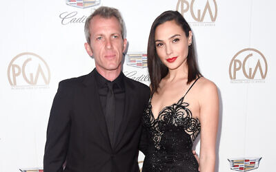 Gal Gadot with her husband Yaron Versano at the Producers Guild Awards at The Beverly Hilton Hotel in Beverly Hills, California, January 20, 2018. (Frazer Harrison/Getty Images/via JTA)