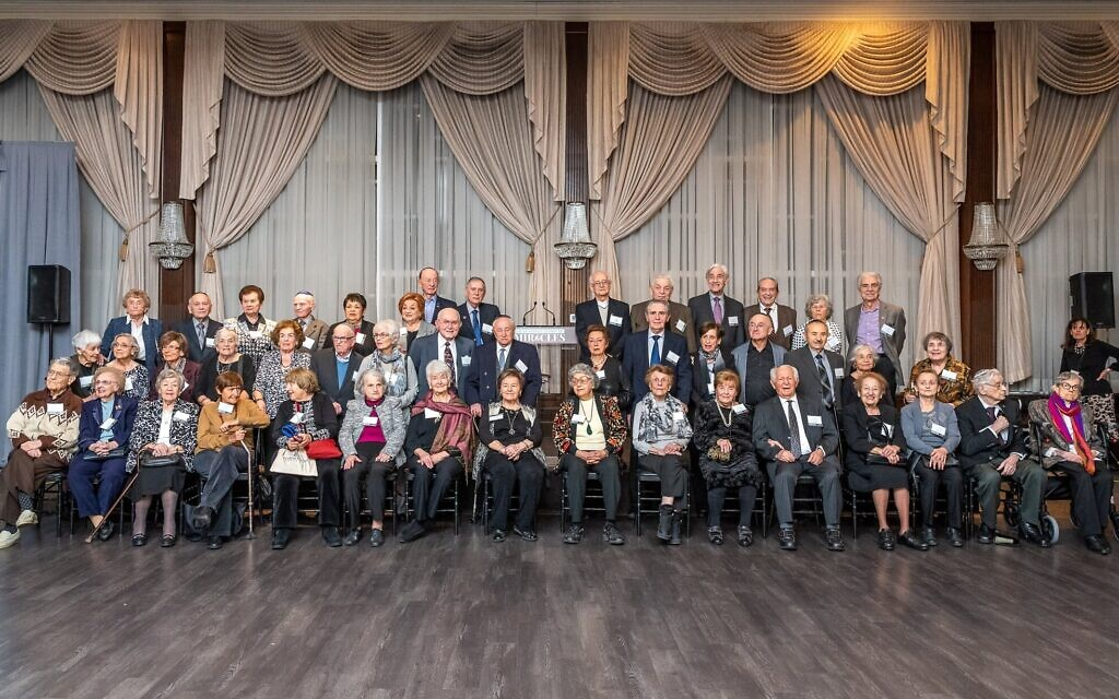 A group shot of the 45 Holocaust survivors who attended the Dinner of Miracles in Toronto, December 15, 2019. (Liora Kogan)