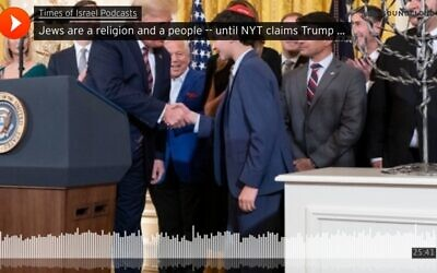 SoundCloud screenshot image: US President Donald J. Trump welcomes Austin Polonski of San Francisco, California, on stage December 11, 2019, during an afternoon Hanukkah Reception in the East Room of the White House. (Official White House Photo by Joyce N. Boghosian)