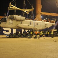 US Navy surplus CH-53 Sikorsky transport helicopters arrive in Israel to be used as spare parts for the Israeli Air Force's aging fleet of helicopters on December 21, 2019. (Defense Ministry)