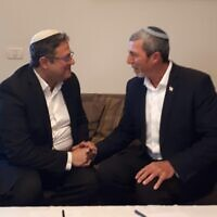 Jewish Home leader Rafi Peretz, right, with Itamar Ben Gvir, left, of the extremist Otzma Yehudit party on Friday, December 20, 2019. (Courtesy)