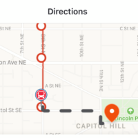 The Moovit app in use in Washington (Courtesy)