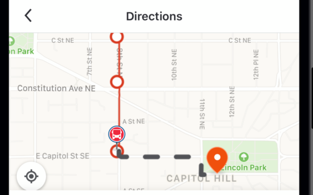 The Moovit app in use in Washington (Courtesy)