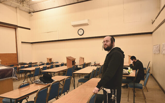 Jacob Gross at the yeshiva and synagogue on Canvey Island, UK on December 13, 2019. (Cnaan Liphshiz via JTA)