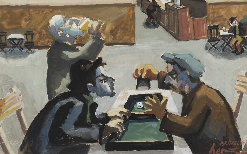 'The Gamblers,' 1938, gouache on paper, by Josef Herman. (Courtesy estate of Josef Herman/ Flowers Gallery)